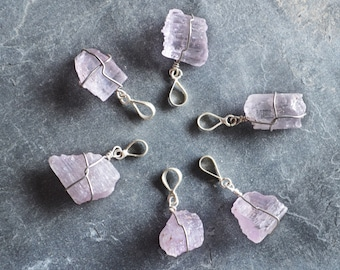 Kunzite Necklace, Sterling Silver, Crystal Necklace