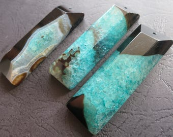 AS PICTURED- 3pcs Black Green Druzy Agate Rectangle Long Stick Pendant 22x60x12mm- top drilled