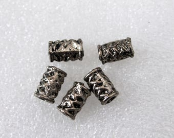 Large Hole Silver Pewter Tube/Cylinder Beads 11x6mm with a 3.5mm Hole