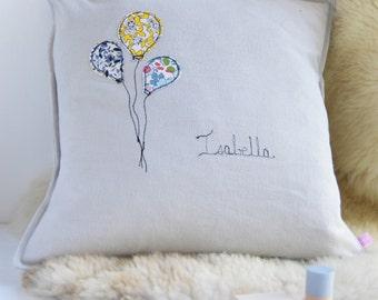 Personalised Baby Name - Balloon Cushion - New Baby Gift - Christening - Keepsake - Scandi Style - Nursery Decor - Baby Shower