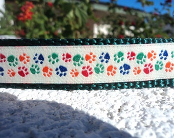 """Sale Dog Collar 3/4"""" or 1"""" wide Side Release buckle Little Paw Prints - upgrade to martingale collar style"""