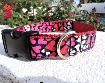 """Sale Dog Collar 1"""" wide Quick Release buckle adjustable My Heart - martingale style is cost upgrade"""