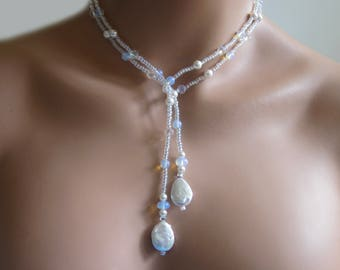 Beaded Lariat Necklace Wrap Freshwater Coin Drop Pearls Opalite and Crystal Beads  Women's Jewelry Gift 41""