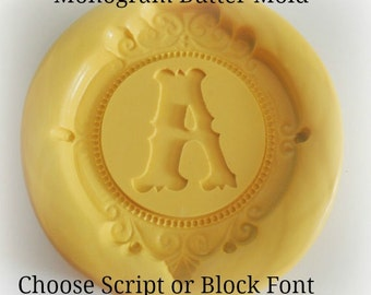 Monogram Butter Molds Silicone Butter Mold Script Letter Monogrammed Mint Cheese Fondant Baking Mold