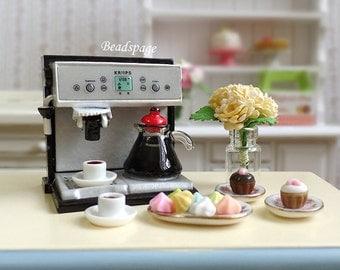 Dollhouse Miniature Coffee Machine / Bundle Set - 1:12 scale (1 inch scale) High-Tea Petite Cafe Expresso Cute Kawaii (see Item Details)