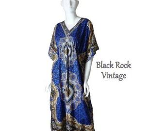 Blue and Gold Dashiki Caftan, Boho Chic Vintage 1980s Flowing Maxi Length Dress Medium/Large