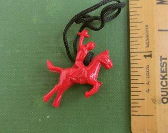 Vintage Red Cowboy & Horse Celluloid / Plastics Charm w/ Cord