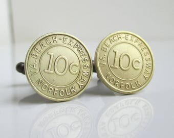 Norfolk Transit Token Cuff Links - Vintage Repurposed VA Beach Coins
