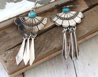 Dangle silver Aztec Tribal Native style earrings with an Acrylic turquoise cabochon center Boho chic Ethnic Gypsy style jewelry by Inali