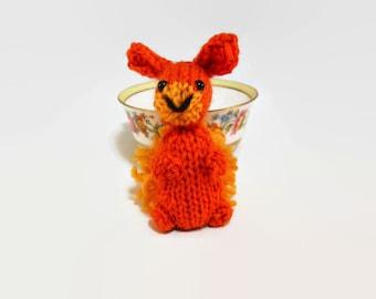 Hand Knit Bunny Plush. Orange Rabbit. Bunny Toy. Bunny Stuffie. Knit Rabbit. Woodland Plush. Ready To Ship. Gifts Under 10.