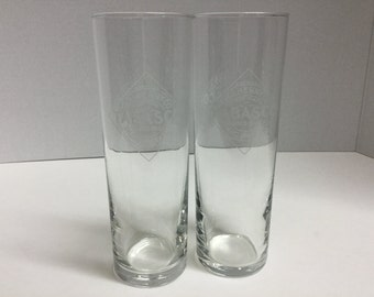 "Tabasco Bloody Mary Glasses Set of 2 McILhenny Co. 7"" Tall"