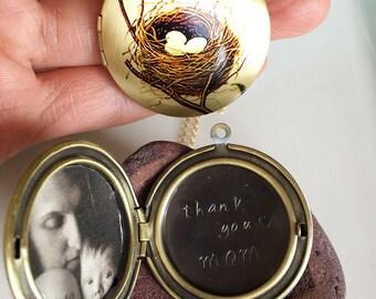 Personalized Locket Necklace,Locket Necklace,Gift For Mom,Photo Locket Necklace,Bird Nest Necklace,Gold Locket Necklace,Bridesmaid Gift