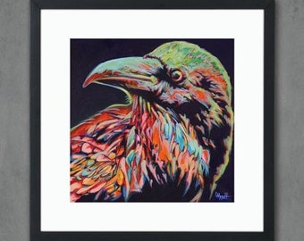 Raven Bird Giclee Art Print from Original Painting - Crow Signed Limited Edition