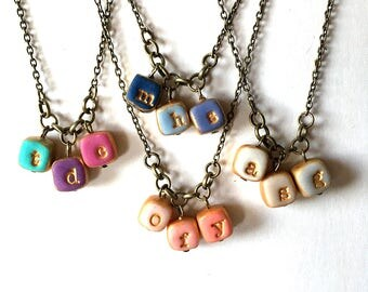 Small Colorful Charm Initial Necklace, Little Cubes, Triple Initial, Gift for Mom, Simple Fun Jewelry Mother's Day, 3 children necklace