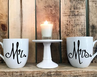 "Hand Painted Coffee Cup - ""Mr."" & ""Mrs."" Quote Coffee Cup Mugs : FREE SHIPPING"