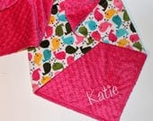 Spring BIRDS Baby Girl Blanket, PERSONALIZED Baby Blanket, Hot Pink, Yellow, Green and Turquoise, Double Minky, Custom Blanket-Choose Colors