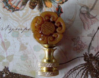 Vintage Chinese Hand Carved Jade Lamp Finial