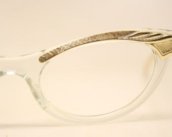 Unused Gold Clear Aluminum Combination vintage cat eye eyeglasses vintage cat eye glasses frames Cateye frames NOS