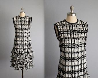 STOREWIDE SALE 60's Mod Dress // Vintage 1960's Black White Abstract Print Chiffon Ruffle Cocktail Party Mod Dress S M