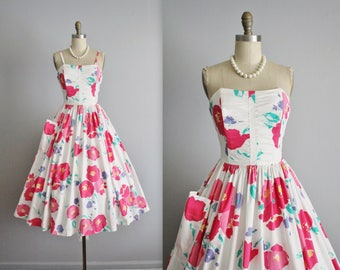 Vintage Floral Dress // Laura Ashley Strapless Floral Print Cotton Garden Party Full Summer Dress M