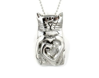 Sterling Silver Cat Jewelry, Unusual Cat Jewelry, Silver Kitty Jewelry, Robin Wade Jewelry, Kitty Lovers Jewelry, Cat Luna Shares Love, 2102