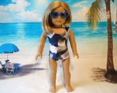 Swimsuit / bathing suit / 18 inch doll clothes / american made / girl / beach / navy blue / white / grey / squares
