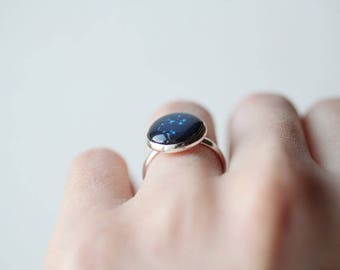 Zodiac Deep Blue Adjustable Ring - Custom Astronomy Sign - Star Constellation - Personalized Gifts