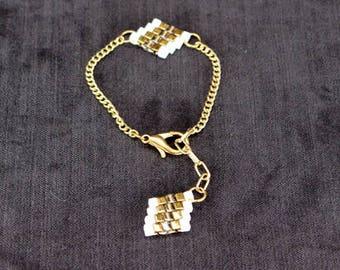Dainty Friendship Bracelet in Bronze & White - In Stock!