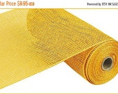 15OFFSALE 10 Inch Yellow Poly Burlap Mesh RP810029, Deco Mesh Supplies