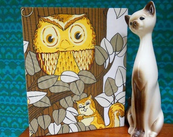 Vintage fabric OWL Picture using a super RETRO 70s OWL fabric called 'Sherwood'