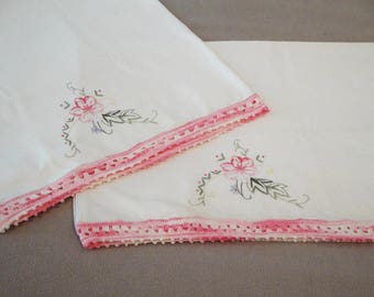 2 Hand Embroidered Pillow Cases Vintage 80's Crochet Edge Pink