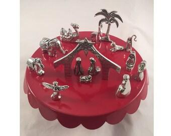 Miniature Nativity Set, 13 Piece Set, Pewter Nativity Set
