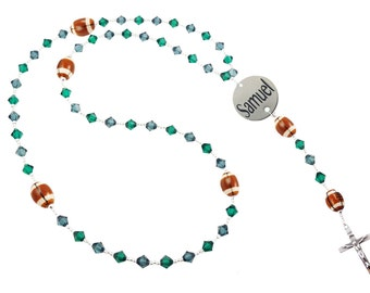 Football Rosary with Name and Date - choose colors and sport for Boys, Girls, Baptism, Christening & Communion