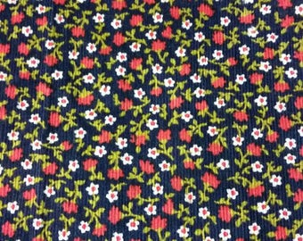 Vintage navy corduroy fabric with floral design
