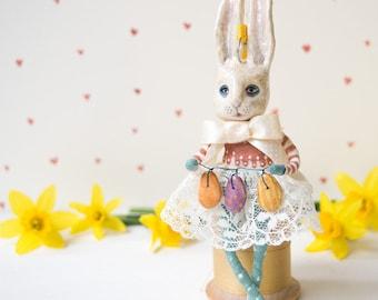 Handmade spun cotton Lady Easter bunny hanging ornament. Easter decoration. Lucky white rabbit. Spring decor. Birthday gift. Rabbit doll