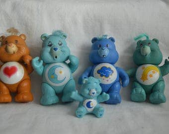 Vintage Kenner Care Bears, 1980's, Poseable, Lot of 5