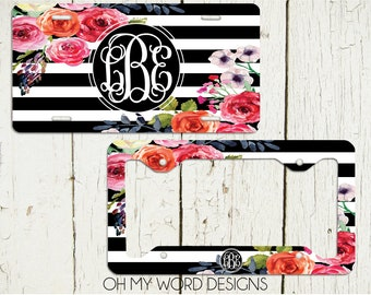 Monogram Car Tag-Personalized License Plate-Monogrammed License Plate-Flower Car Tag-Water Color Flowers-License Plate Frame