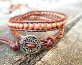 Double Goldstone and Leather Wrap Bracelet