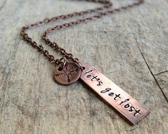 Let's Get Lost, Couples Necklace, Compass Necklace, Wanderlust Jewelry, Travel Enthusiast, Road Trip, Bohemian Necklace, Bohemian Jewelry
