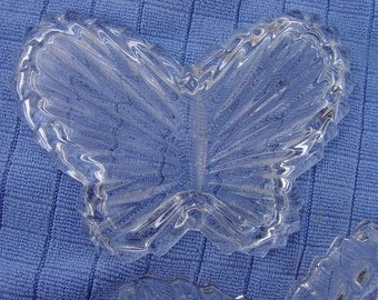 Vintage Crystal Butterfly Trinket Dish with Lid