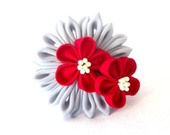 Smoke and Red Fabric Flower Corsage Bracelet Adjustable Wearable Fiber Art