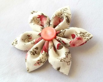 Cute Kanzashi Hair Clip with Pink and Burgundy Roses
