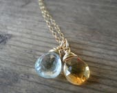 special order for Jamie- silver yellow citrie pendat