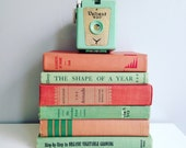Blush Pink and Mint Green Books Instant Library Collection by Color Photography Props Vintage Decorative Books Shabby Chic Pastel