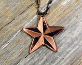 Tattoo Flash Nautical Star Sailor Jerry Necklace Hand Engraved & Heat Patinaed, Classic Tatto Flash Inspired: Inkd37