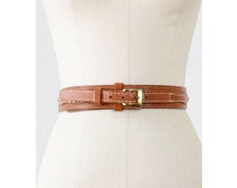 Harness Belt • Tooled Leather Belt • 80s Belt • Brown Leather Belt • Western Leather Belt • Floral Belt | BT339
