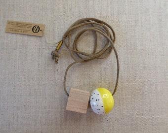 Yellow Ceramic Bead Necklace SALE