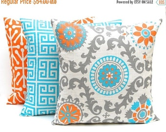 15% Off Sale Decorative Pillow Covers, Turquoise and Orange Pillow Covers, Set of Three 18 x 18, Turquoise Pillow Covers, Orange Pillows, So