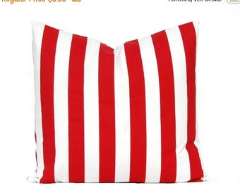 30% Off Sale Red Stripe Pillow Cover - One - Throw Pillow Cover - Lipstick Red White - Canopy Stripe Pillow Cover - Red Decorative Pillow -