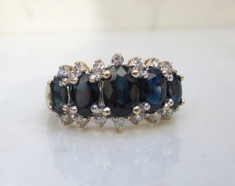 Estate 14k Solid Yellow Gold Sapphire and Diamond Alternate Engagement Ring, Size 7